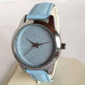 NWT Light Blue Sparkled Jeweled Watch